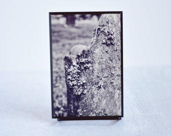 Black and White Cemetery Headstone Mounted Print