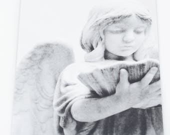 Black and White Angel Photo Refrigerator Magnet, black and white photography, angel statue, angel magnet