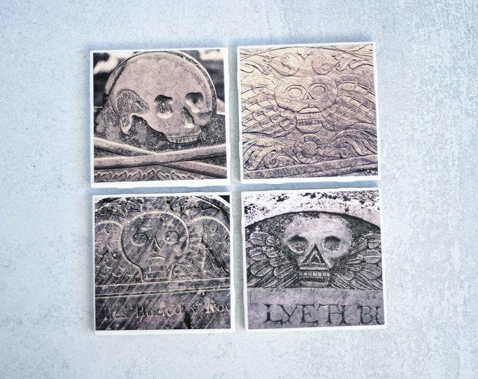 Headstone Photo Coasters Set of 4