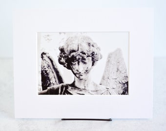 Cemetery Angel Black and White Matted Print