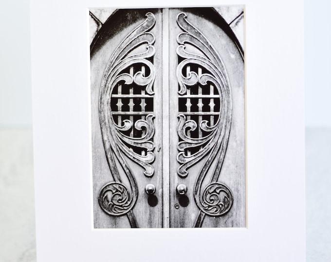 Black and White Mausoleum Doors Matted Art Print
