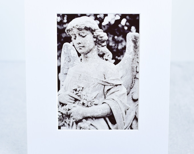 Black and White Cemetery Angel Matted Art Print