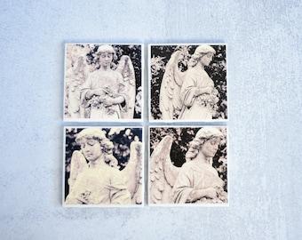 Cemetery Angel Photo Coasters, set of 4