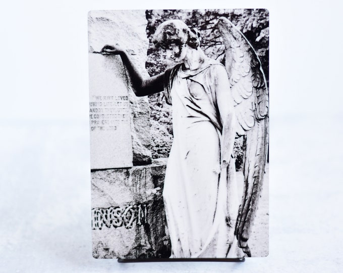 Black and White Cemetery Angel Metal Art Print