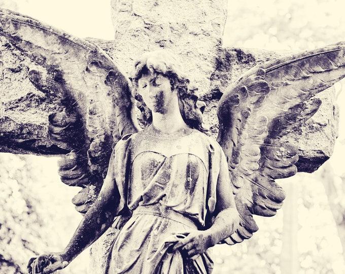 Black and White Cemetery Angel Art Print