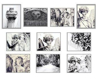 Black and White Cemetery Angel Photo Postcards