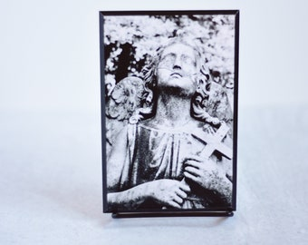 Black and White Cemetery Angel Mounted Art Photograph