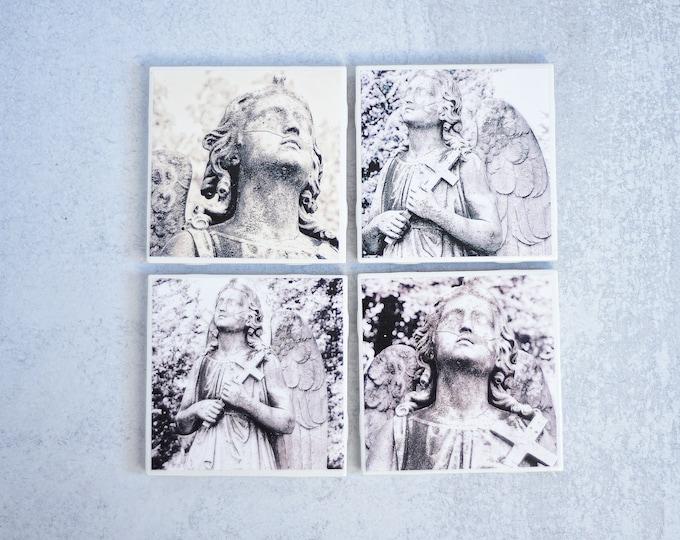 Black and White Angel Photo Coasters, set of 4