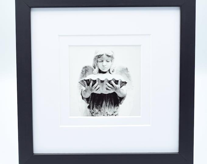 Black and White Cemetery Angel 8x8 Framed Print