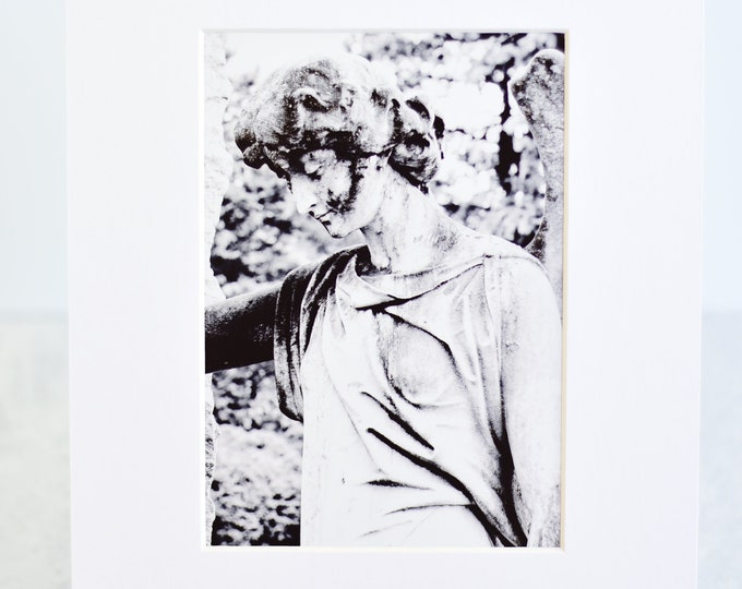 Black and White Cemetery Angel Matted Art Photograph