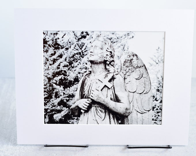 Black and White Cemetery Angel Art Matted Photograph