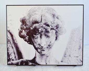 Black and White Cemetery Angel Mounted Print