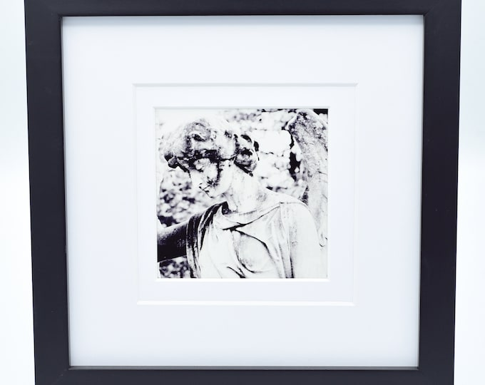 Black and White Cemetery Angel 4x4 Print With Mat and Frame