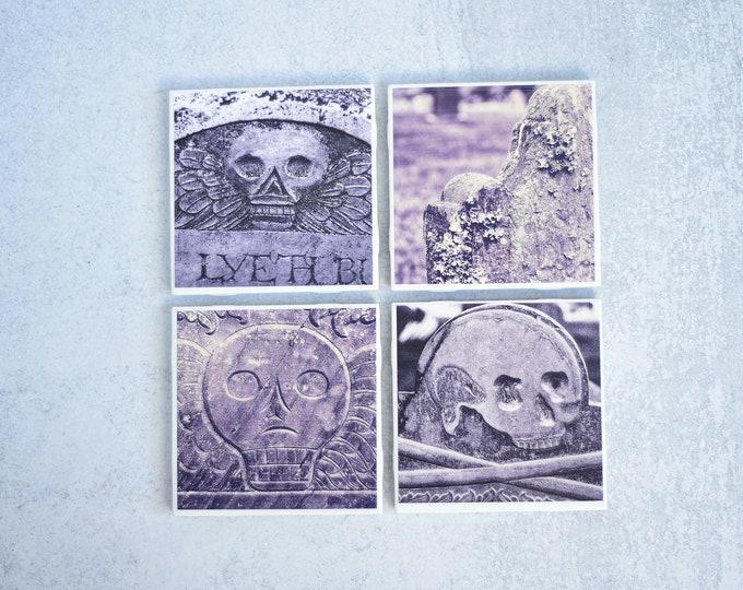 Cemetery Headstone Photo Coasters, set of 4