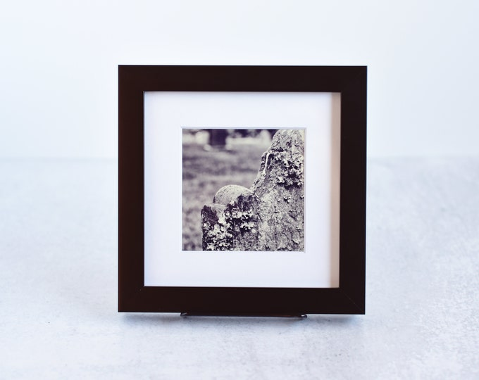 Cemetery Headstone Matted and Framed 4x4 Print