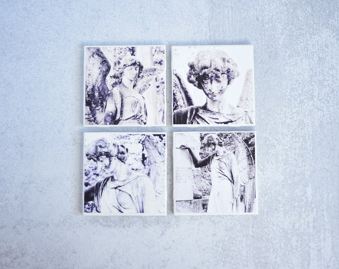 Cemetery Angel Photo Coasters Set
