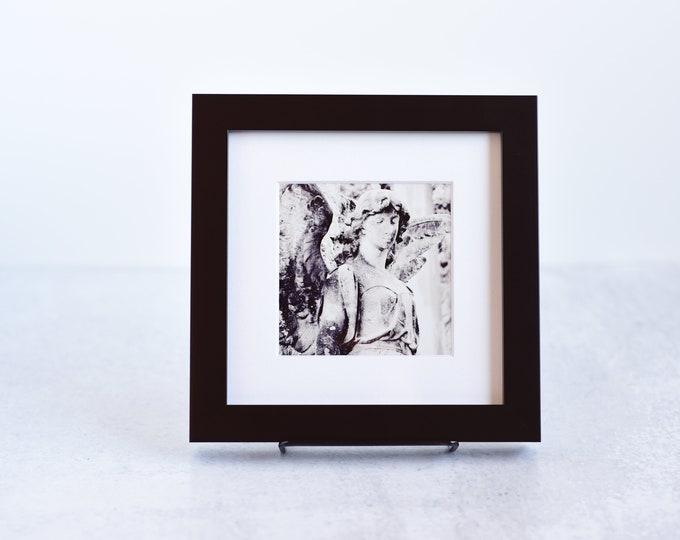 Black and White Cemetery Angel Framed Print