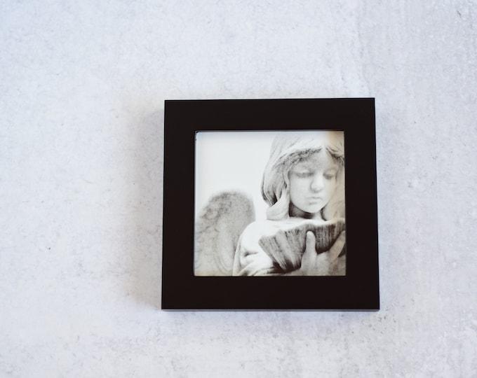 Black and White Cemetery Angel Framed Art Print