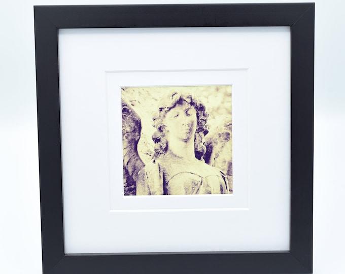 Cemetery Angel Framed 4x4 Print