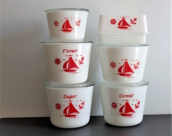 Vintage McKee white milk glass kitchen collection:Cereal,Flour & Sugar canisters,bowls with lids,butter dish,storage containers-red sailboat