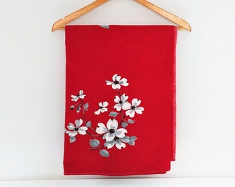 Vintage tablecloth - red, white & gray dogwood blossoms floral pattern - rectangle - 53 x 63 inches - table linen / cover