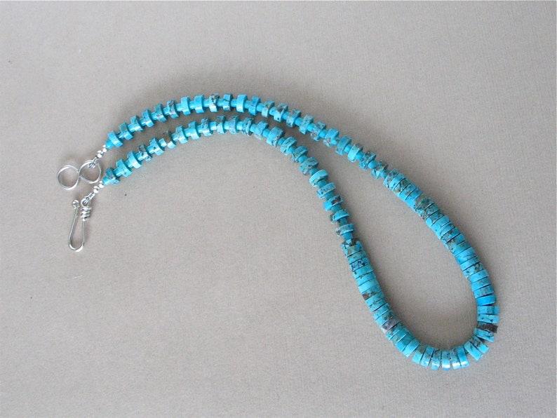 Kingman Turquoise Heishi Necklace Choker  7mm and 3mm Heishi image 0