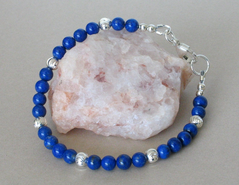 Lapis and Sterling Silver Bracelet  7 5/8 inches  Blue Lapis image 0