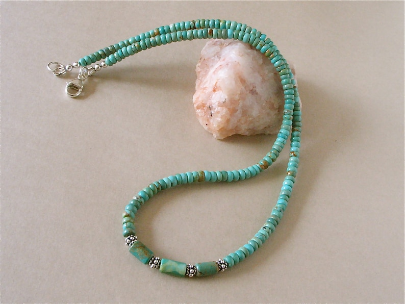 Green/Blue Mexican Turquoise Necklace  5mm Elisa Turquoise image 0