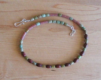 Green Turquoise, Brown Aventurine, and Red Jasper Necklace - Mixed Gemstone Necklace Suitable for Men and Women - Sterling Silver Hook