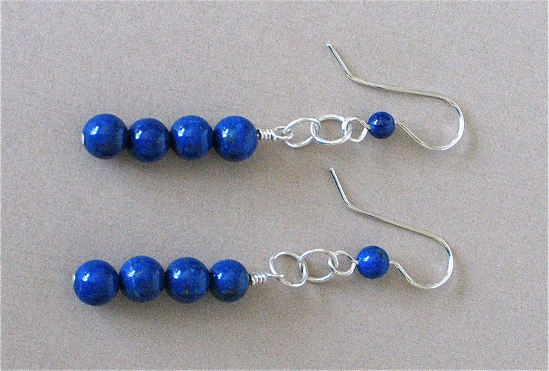 Long Lapis Earrings  Long Lapis Lazuli Dangle Earrings 2 1/2 image 0