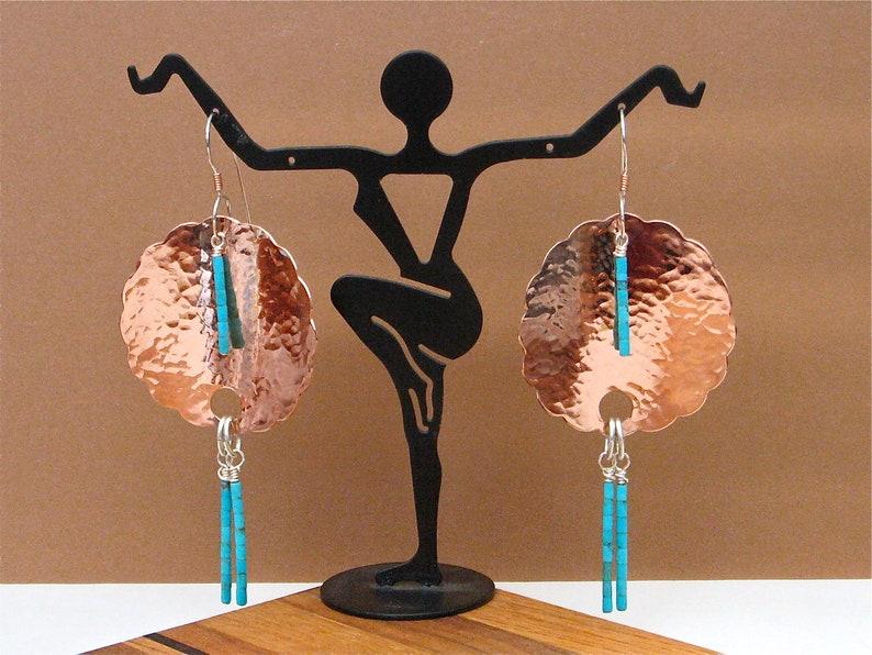 Kingman Turquoise Heishi and Hammered Copper Earrings  image 0