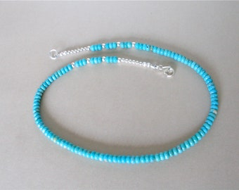 Kingman Turquoise Necklace - Blue/Slightly Green Turquoise From Arizona - 5mm Turquoise Beads, Sterling Silver Clasp - 17 1/4 inches