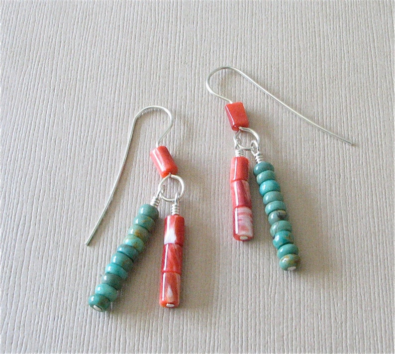 Turquoise and Spiny Oyster Double Dangle Earrings  5mm Elisa image 0