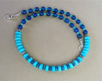 """Kingman Turquoise, Denim Lapis, and Blue Lapis Lazuli Necklace with Touches of Sterling Silver - Striking Southwest Style - 17 1/2"""""""