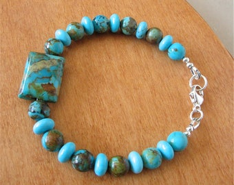 Chunky Turquoise Bracelet - Kingman Turquoise From Arizona - Mix of Boulder Turquoise and Blue Turquoise with Sterling Silver Lobster Claw