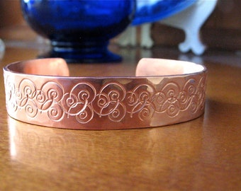 Hammered and Stamped Copper Cuff Bracelet - 14 Gauge Copper - Swirl Design - Fits Small to Medium Wrist - Width 1/2 Inch
