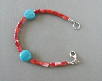 """Turquoise and Spiny Oyster Bracelet - Spiny Oyster 4mm Heishi Beads and Kingman Turquoise 12mm Coin Beads - Sterling Silver Closure - 4 1/4"""""""