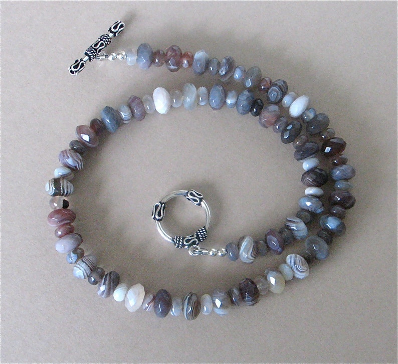 Botswana Agate Necklace with Sterling Silver Toggle Clasp  image 0