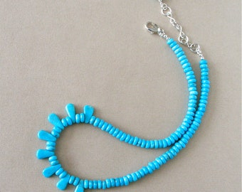 """Turquoise Necklace - Kingman and Nacozari Turquoise - Southwestern Jewelry - Suitable for Men and Women - 17"""" plus 2"""" extension"""