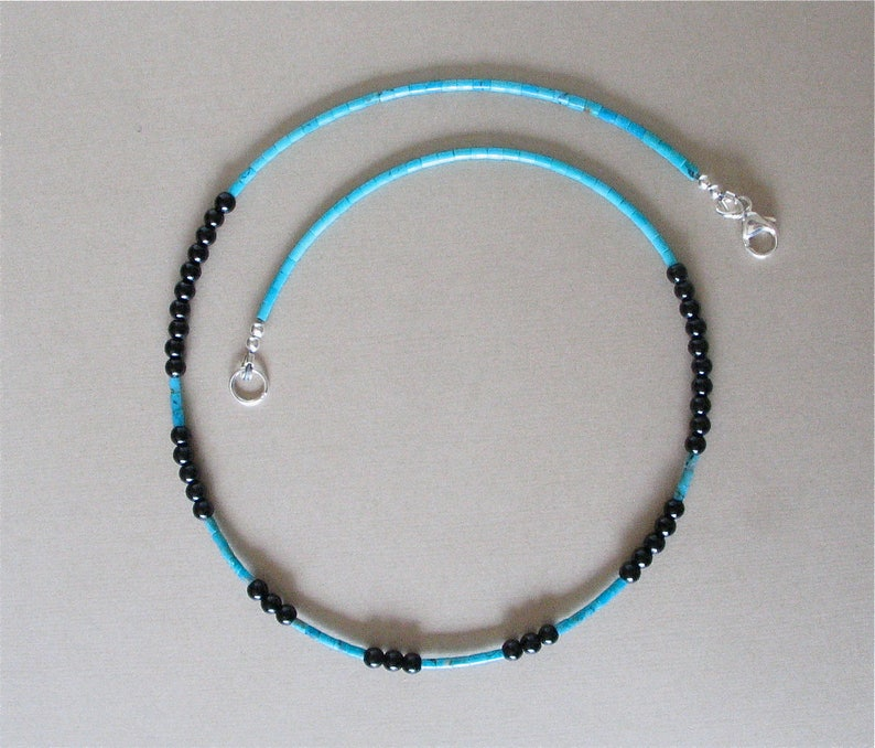 Kingman Turquoise Heishi and Black Onyx Necklace with Sterling image 0