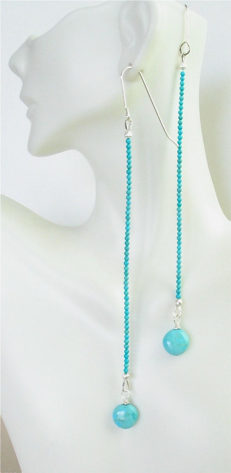 Kingman Turquoise Shoulder Duster Earrings  Long 6 image 0