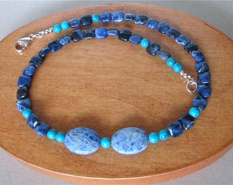 """Kingman Turquoise and Blue Sodalite Necklace - Southwest Style Necklace Suitable for Men and Women - 17 1/4"""""""