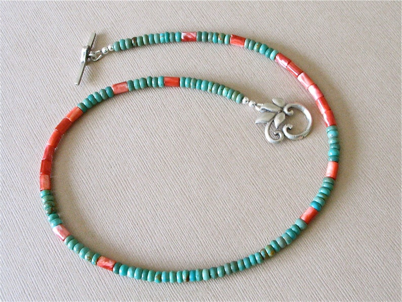 Turquoise and Shell Necklace Choker  Green Mexican Turquoise image 0