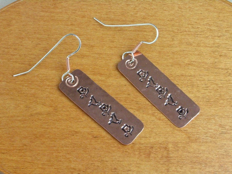 Hammered and Stamped Copper Earrings  Roses and Hummingbirds image 0