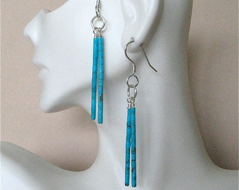 Turquoise Heishi Double Dangle Earrings - Turquoise and Sterling Silver Earrings with 2 Dangles - Kingman Tuquoise Heishi Long Earrings