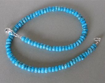 """Kingman Turquoise Necklace - American Southwest Blue Turquoise - 6mm - Suitable for Men and Women - 16 1/2"""" - Sterling Silver Closure"""