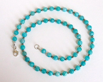 Russian Amazonite and Pyrite Necklace 21 1/4 inches