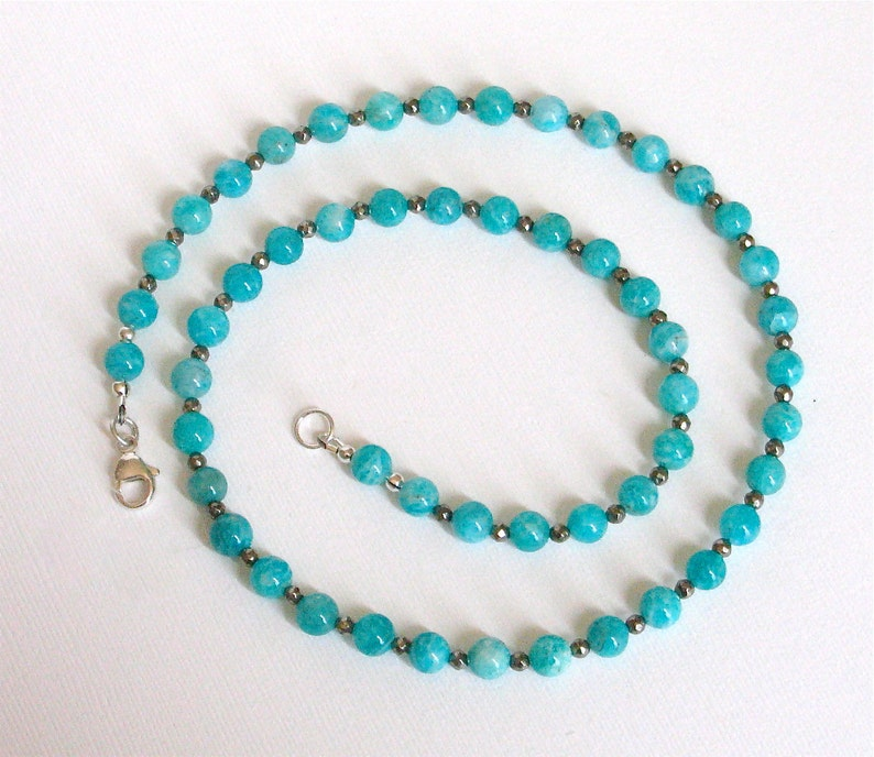 Amazonite and Pyrite Necklace 21 1/4 inches image 0