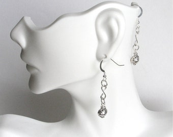 Sterling Silver Long Dange Earrings - 2 Inches Long