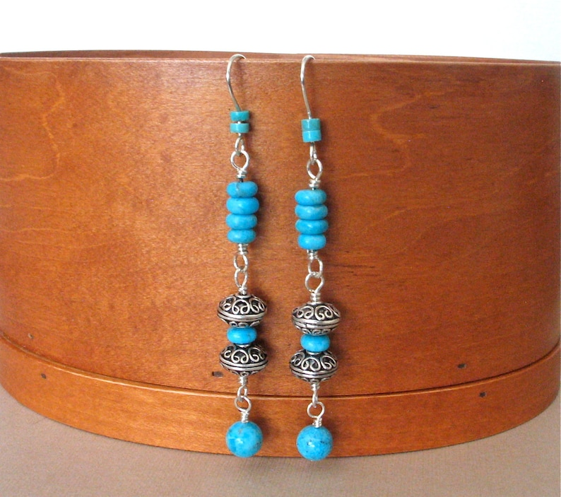 Turquoise and Silver Long Dangle Earrings  Boho Hippie image 0